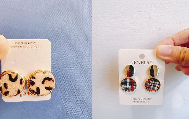 豹紋與格菱款耳環
