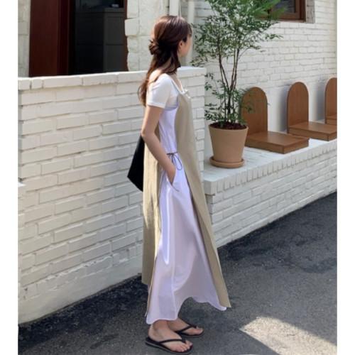 【韓網女裝】 Jun. 畫家、藝術家風格的夏季細肩帶洋裝_ 預購
